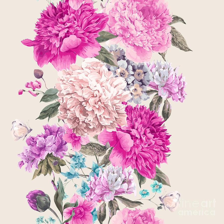 Romance Photograph - Vintage Watercolor Vector Floral by Depiano