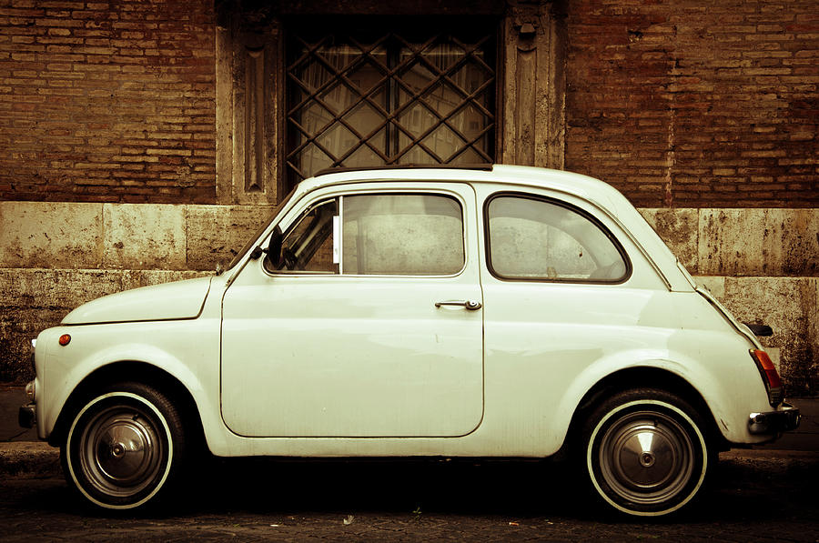 Vintage White Fiat 500 In Rome Photograph by Gollykim