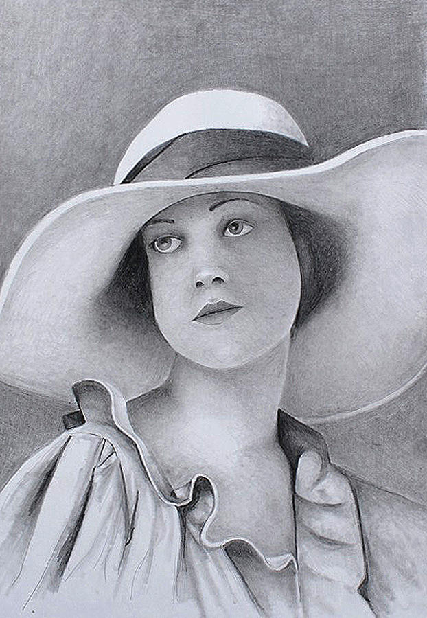 Vintage woman in brim hat by Tim Ernst