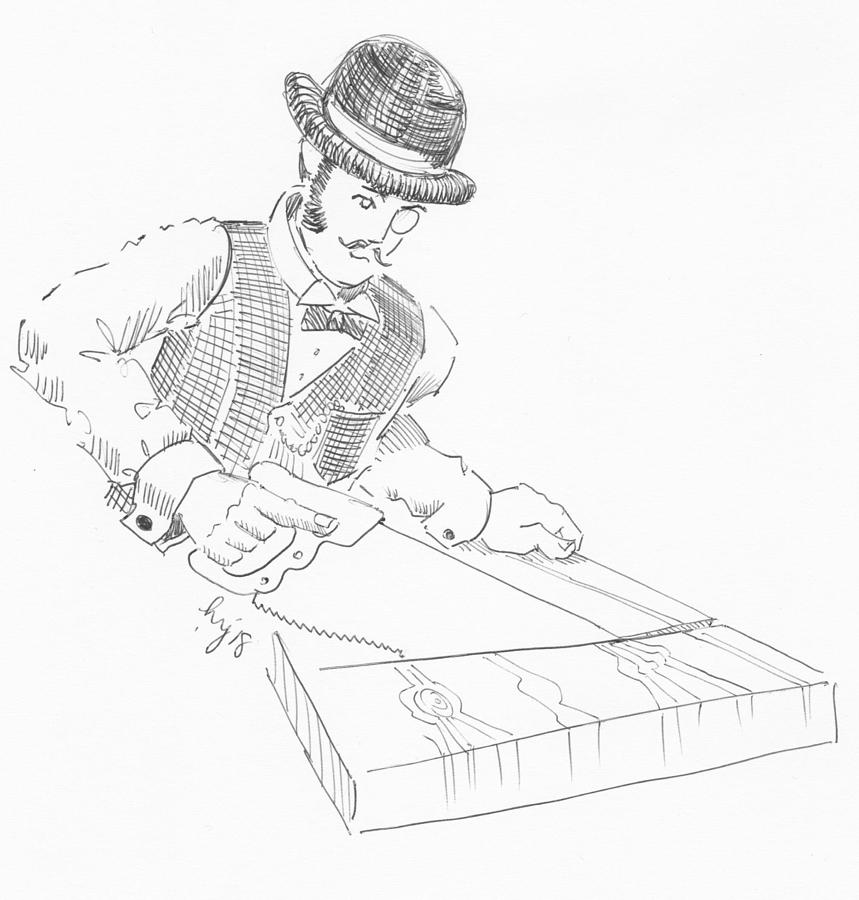 Vintage Woodworking - Victorian gentleman carpenter drawing by Mike Jory