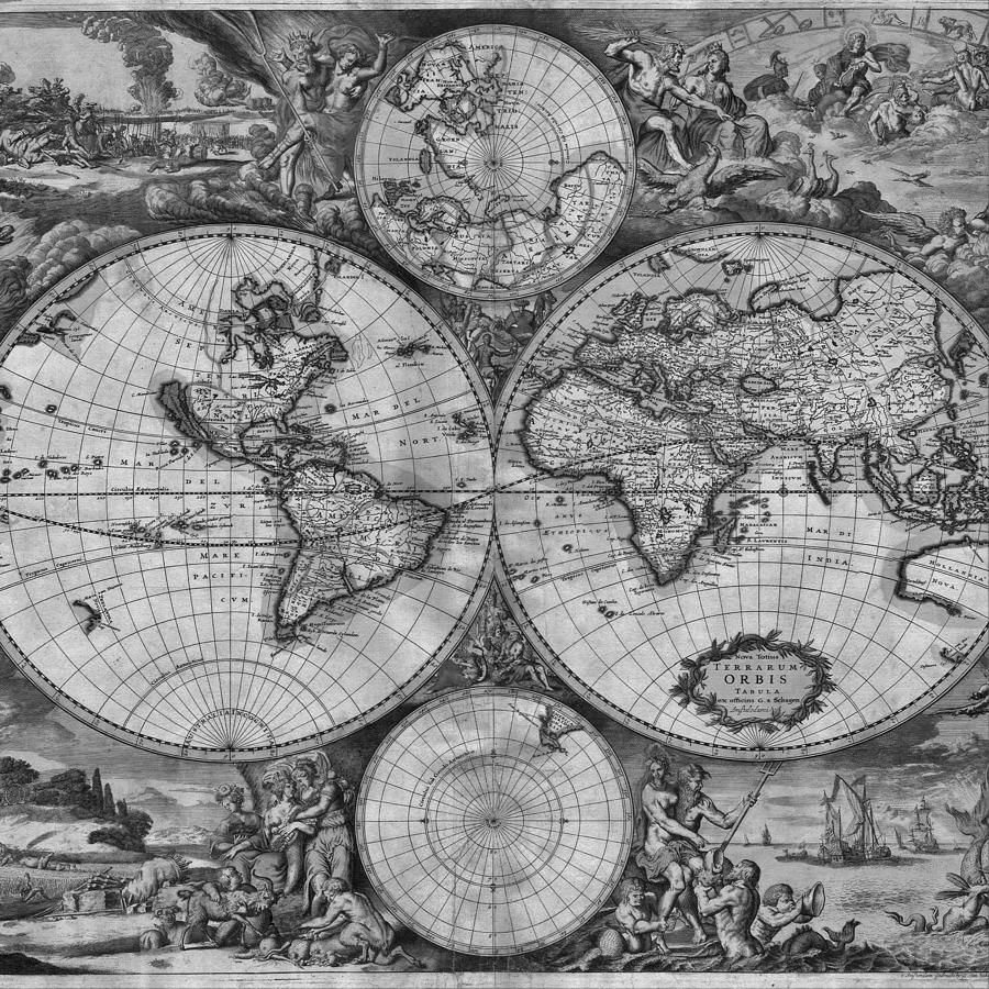 Vintage World Map print from 1689 - Black and White by Marianna Mills