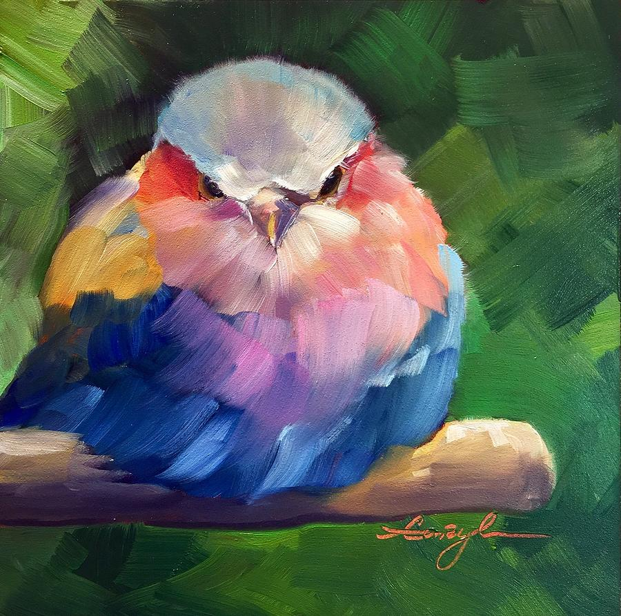 Violet Breasted Roller Bird Painting by Caryl Pomales