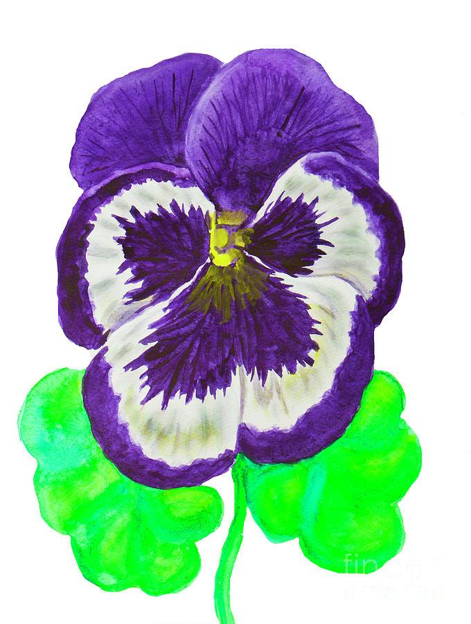 Violet pansy, painting by Irina Afonskaya