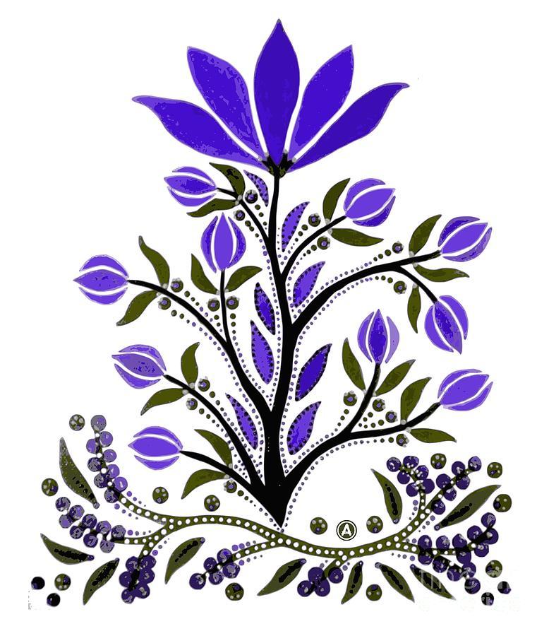 Anthony Mixed Media - Violet Slavic Flower by Anthony Mrugacz