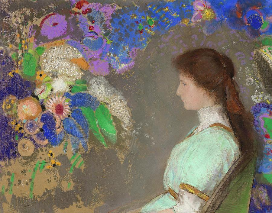Odilon Redon Painting - Violette Heymann, 1910 by Odilon Redon