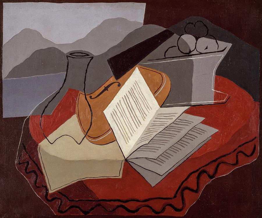 Juan Gris Painting - Violin Before An Open Window, 1926 by Juan Gris