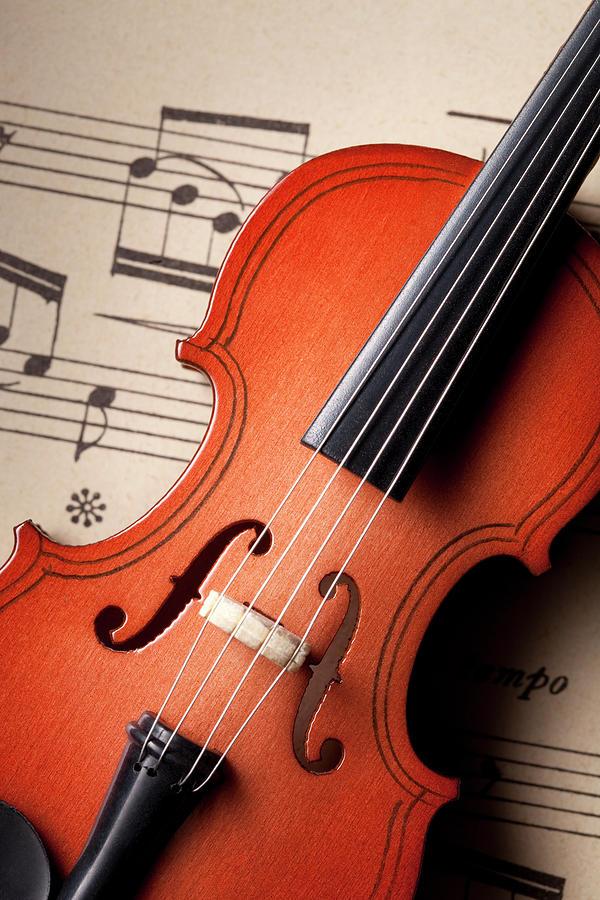 Violin On Sheet Music Photograph by Malerapaso