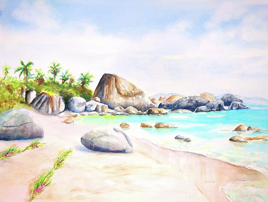 Virgin Gorda Little Trunk Bay by Carlin Blahnik CarlinArtWatercolor