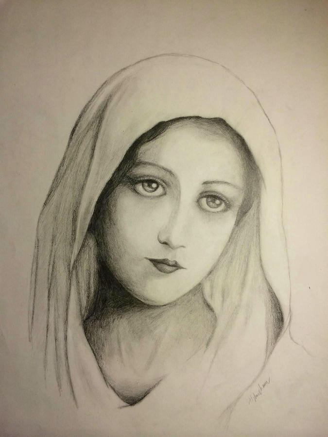 Virgin Mary 1 Drawing by Thuy Pham