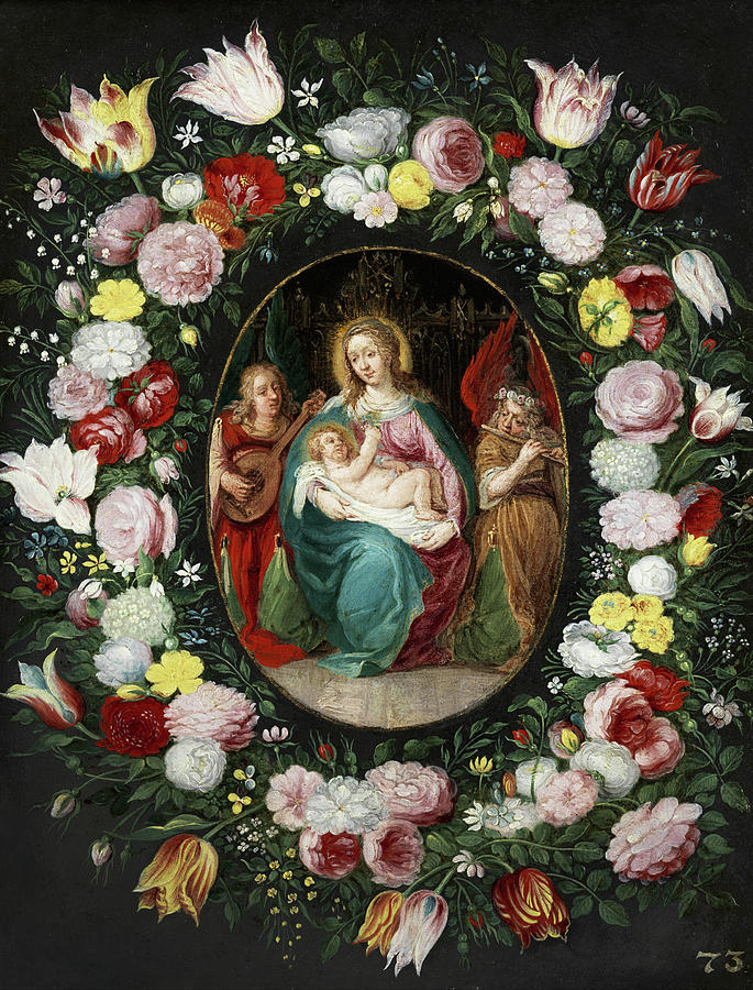 Flemish Painter Painting - Virgin Mary With Child by Flemish painter of the 17th century