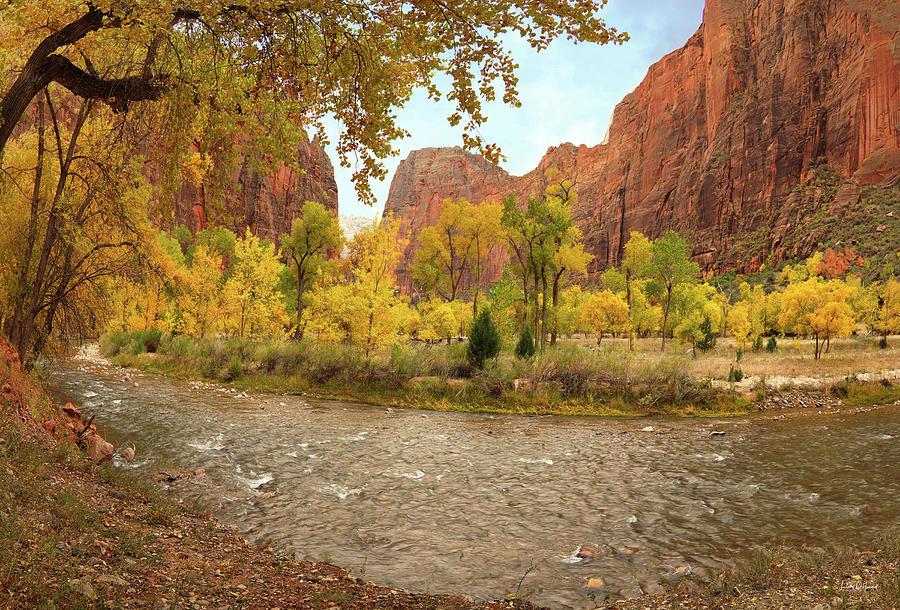 Autumn Photograph - Virgin River Canyon In Autumn by Leland D Howard