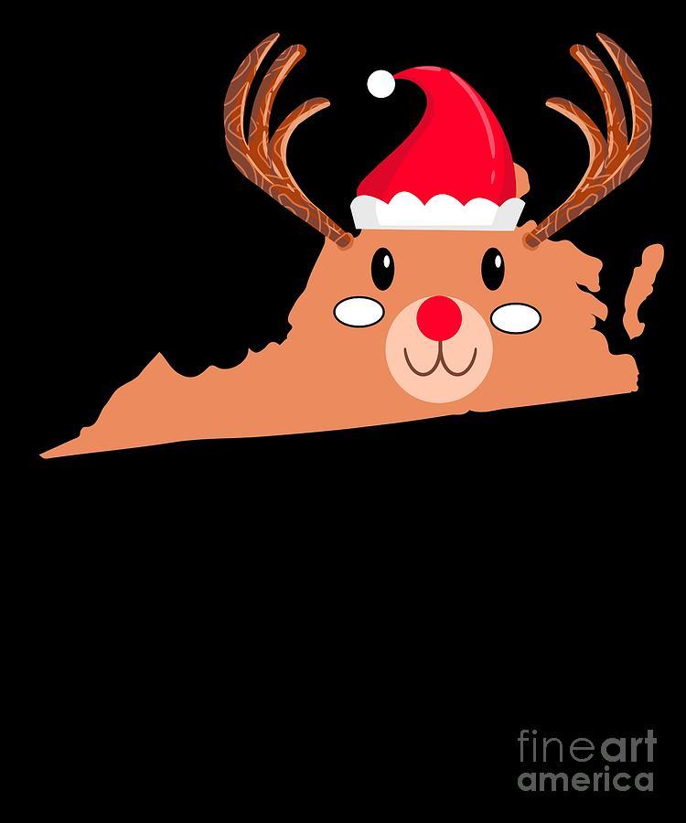 Christmas Digital Art - Virginia Christmas Hat Antler Red Nose Reindeer by TeeQueen2603