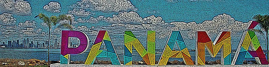 Visit Panama Sign Panorama Digital Art