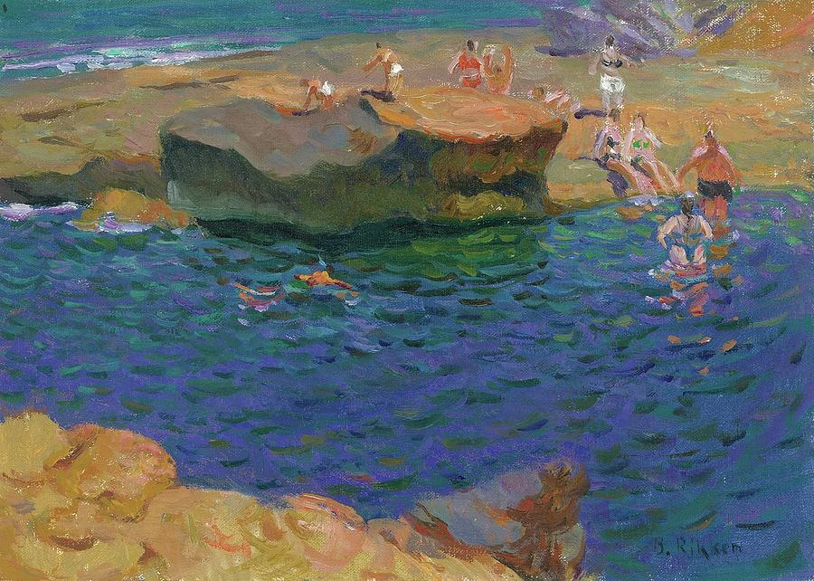 Swimming Painting - Visitors at La Caleta Sp by Ben Rikken