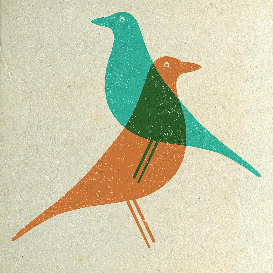 Mid-century Digital Art - Vitra Eames House Birds II by Naxart Studio