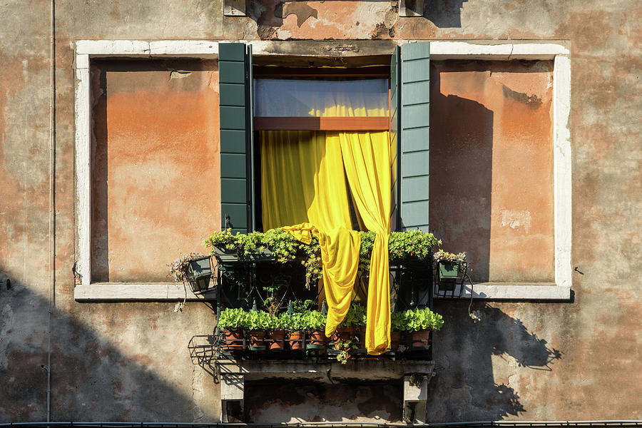 Vivid Venetian Accents - Gen-Z Yellow Curtains  by Georgia Mizuleva
