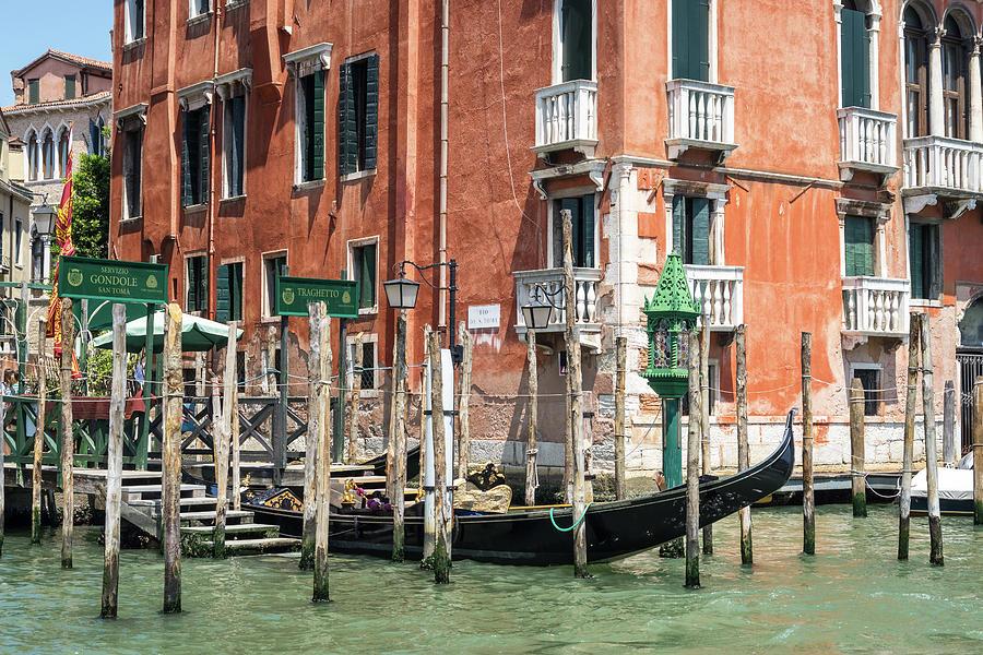 Vivid Venetian Accents - Gondola Traghetto di San Toma on the Grand Canal by Georgia Mizuleva