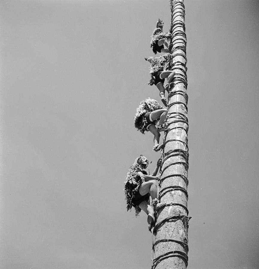 Pole Photograph - Voladores Ascent by George Pickow