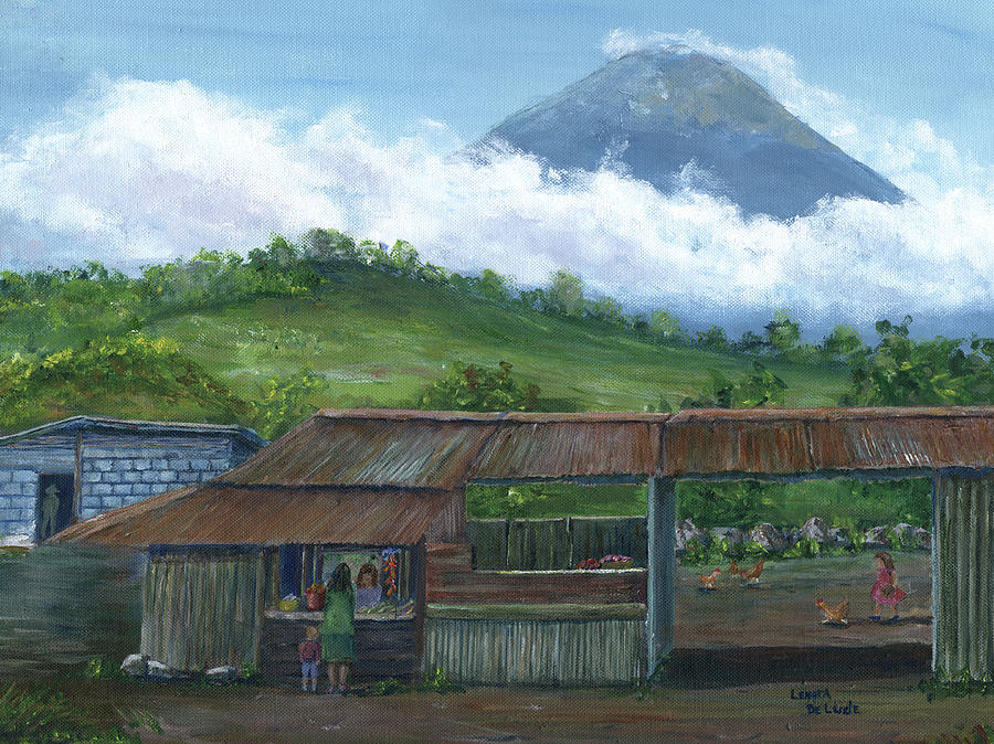 Volcano Agua, Guatemala, with Fruit Stand by Lenora De Lude