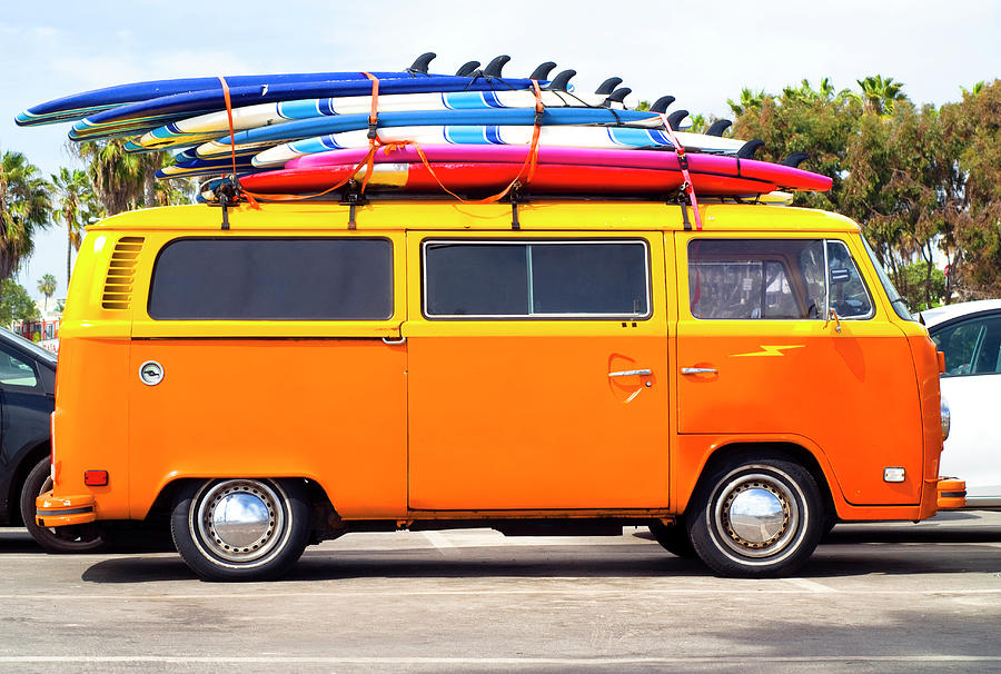 Volkswagen Bus With Surf Boards Photograph by Pete Starman