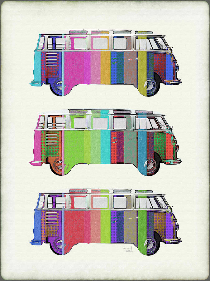Volkswagen Bus Painting - Volkswagen Microbus Pop Colors Grunge by Aaaah Eeeek Studio