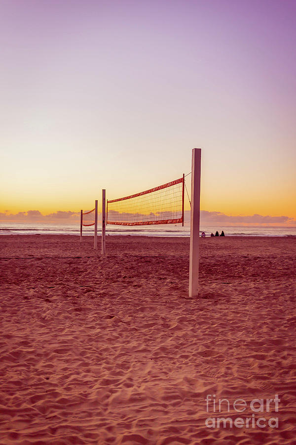 Volleyball Photograph - Volleyball Nets Sunset On Mission Beach by Edward Fielding