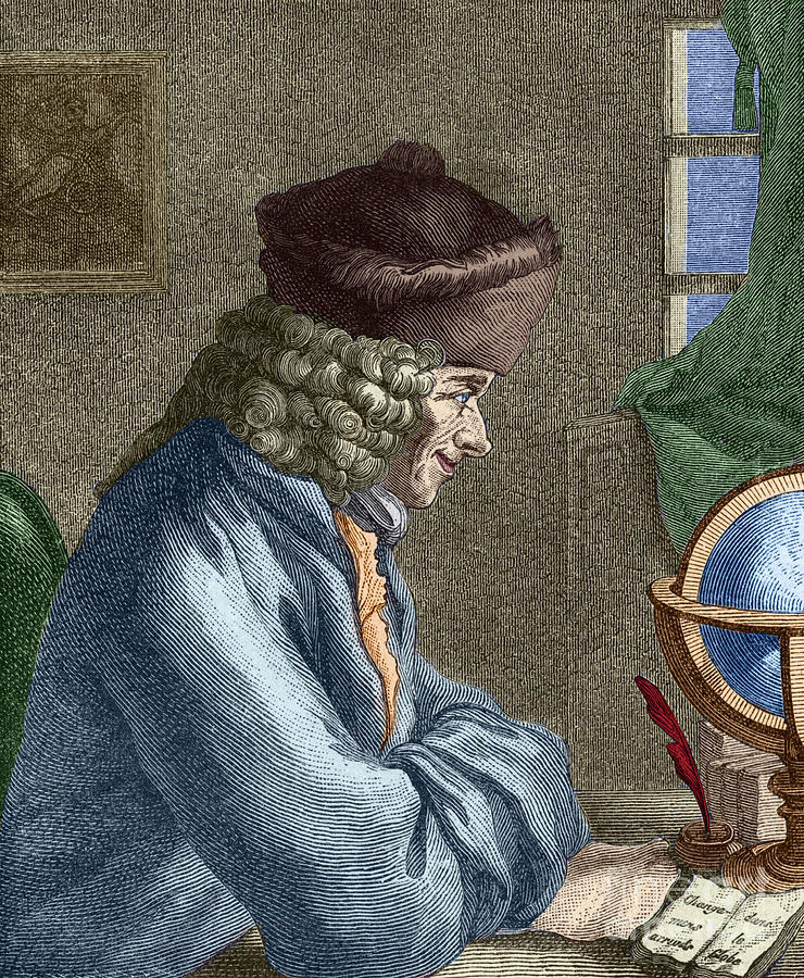 Desk Painting - Voltaire In His Office In Vernay by French School
