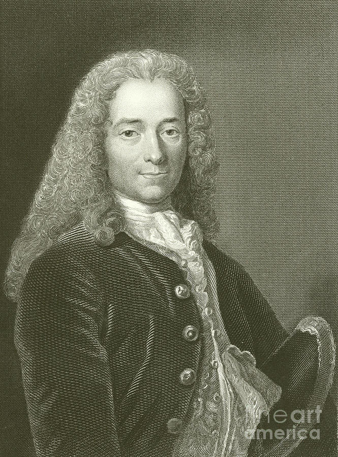 Engraving Drawing - Voltaire Portrait, Engraving by English School