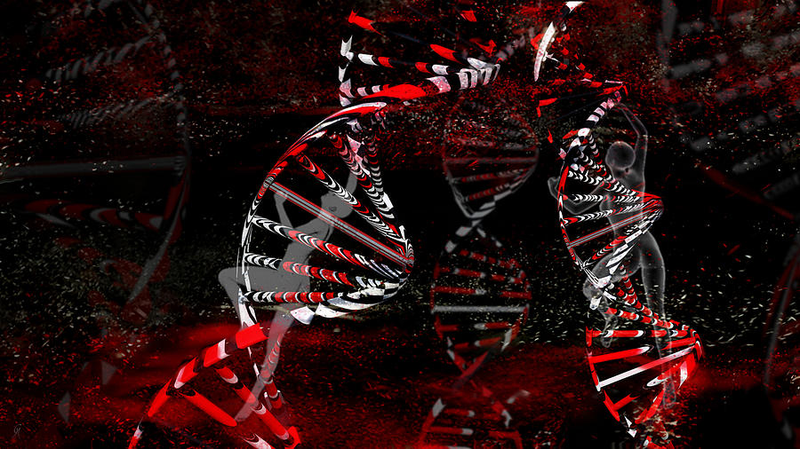 Dna Digital Art - Vortices by Carmen Hathaway