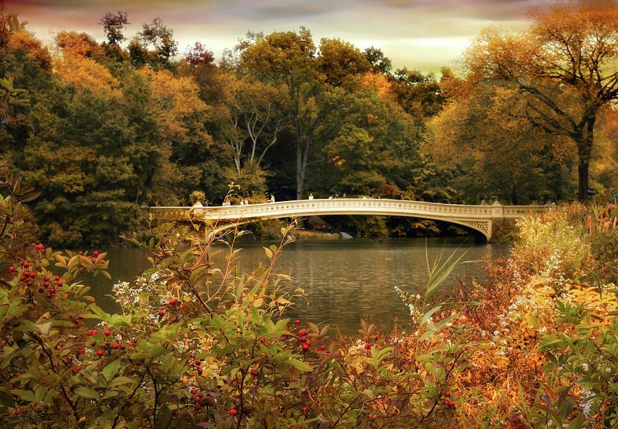 Bow Bridge Photograph - Bow Bridge Autumnal Tones  by Jessica Jenney
