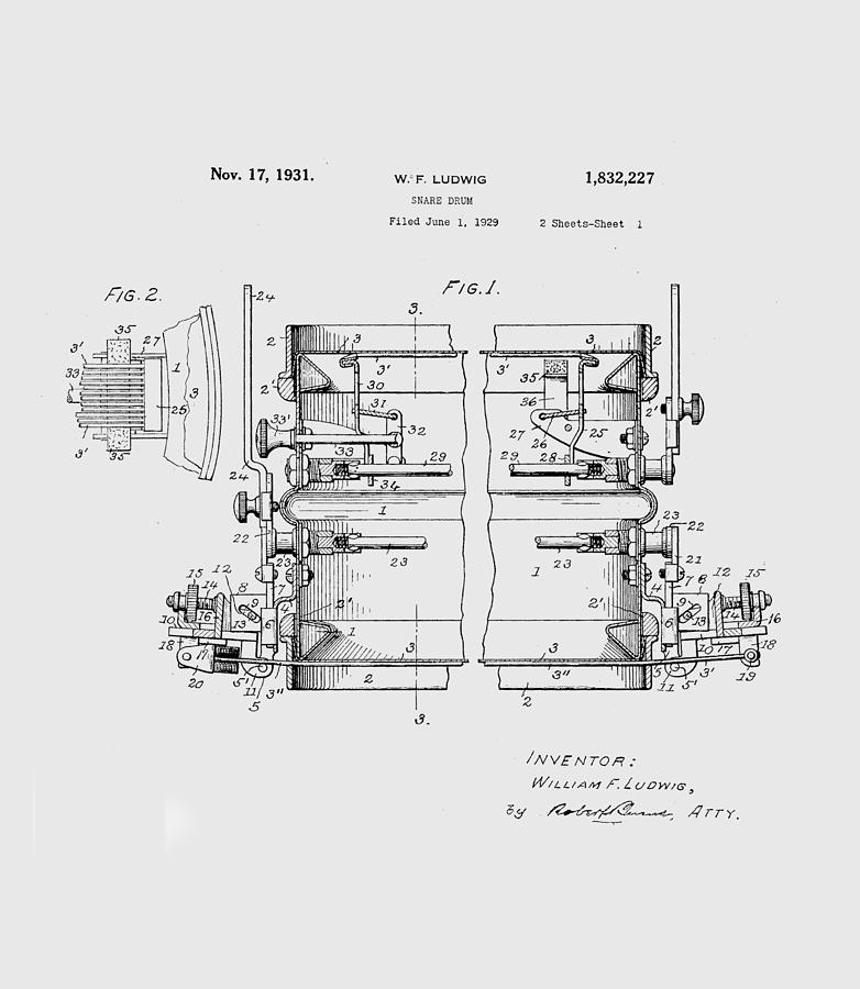 W F Ludwig Snare Drum Patent by Paulette B Wright
