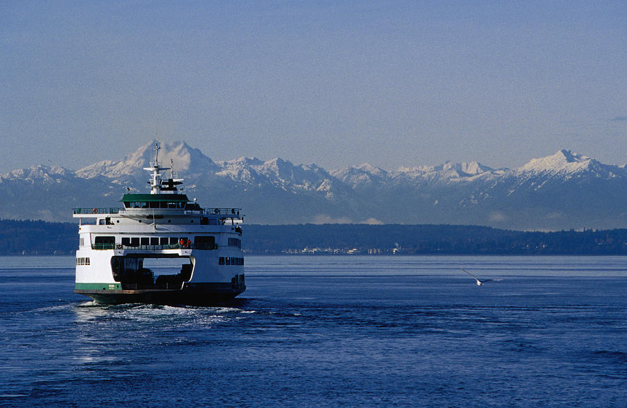 Wa State Ferry Nearing Colman, Seattle Photograph by Lonely Planet