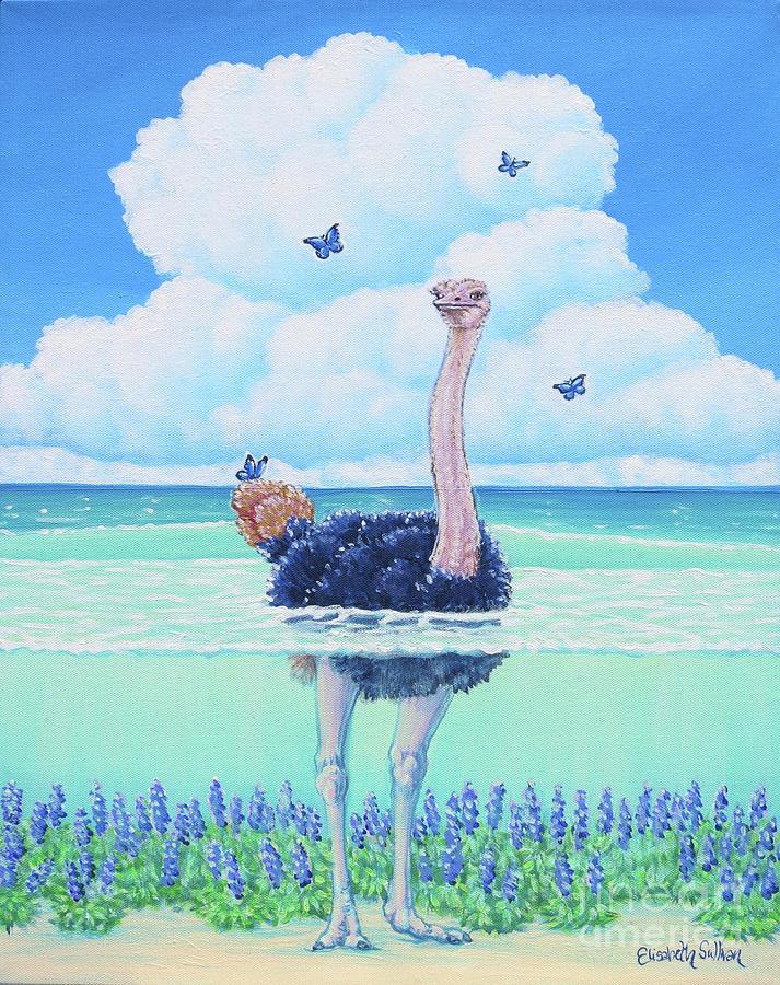Wading Ostrich by Elisabeth Sullivan