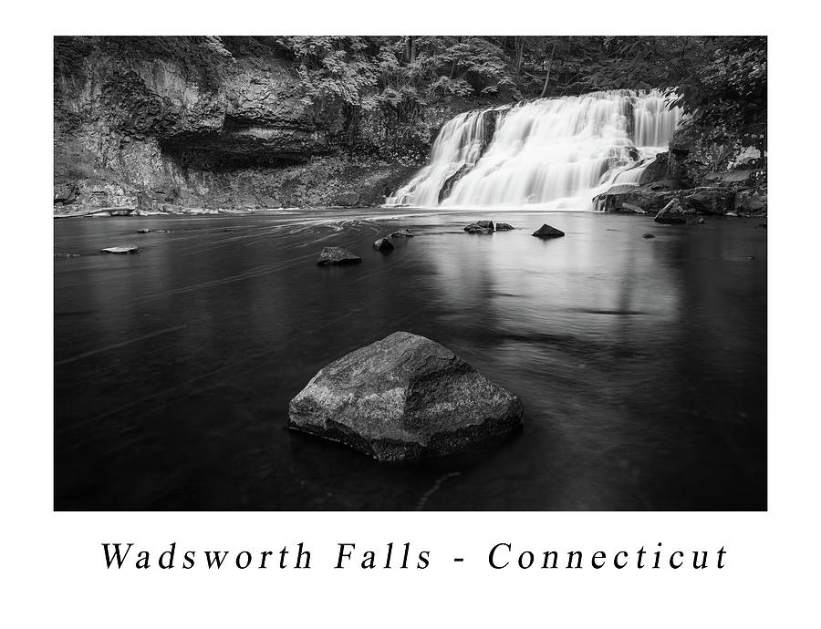 Wadsworth Falls Poster in Black and White by Kyle Lee