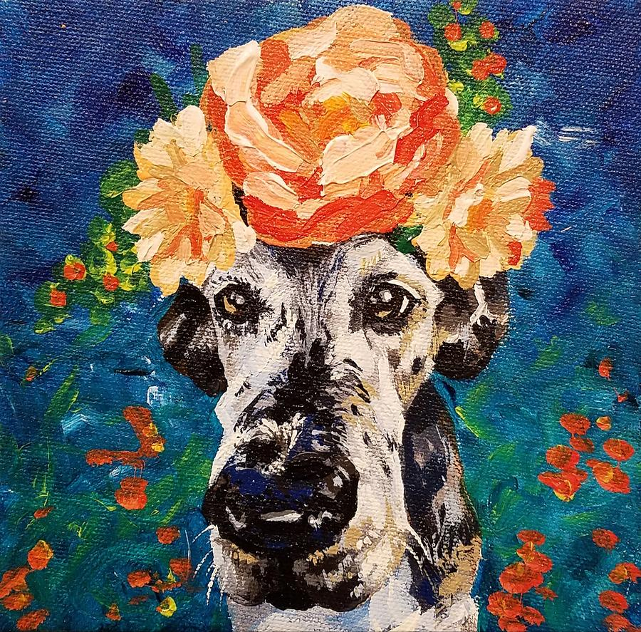 Great Dane Painting - Waffles by Allison Fox