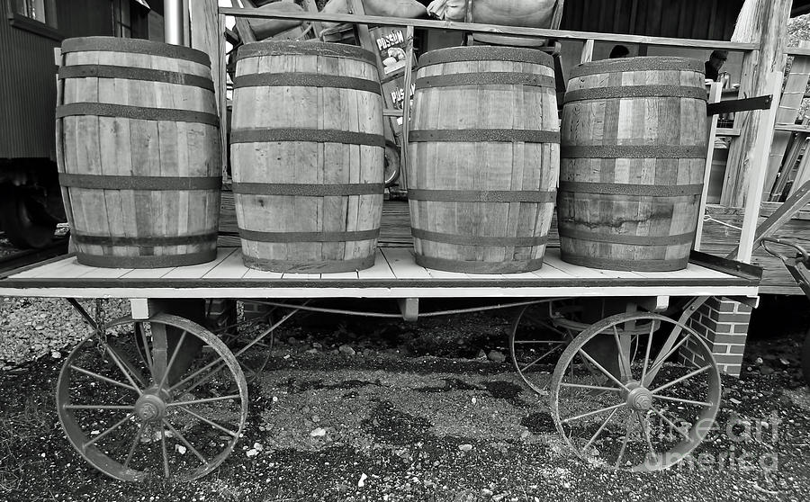 Wagon At The Depot BW by D Hackett