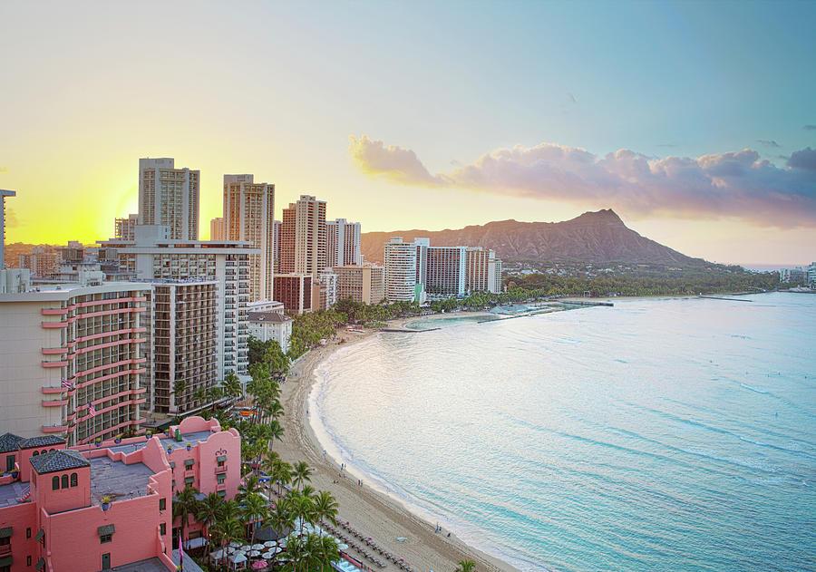 Waikiki Beach At Sunrise Photograph by M Swiet Productions