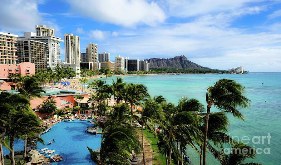 Waikiki Photograph - Waikiki Beach - Diamond Head Crater  by D Davila