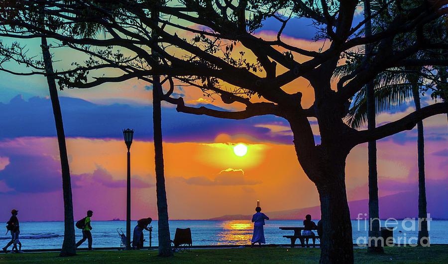 Waikiki Beach Sunset by D Davila
