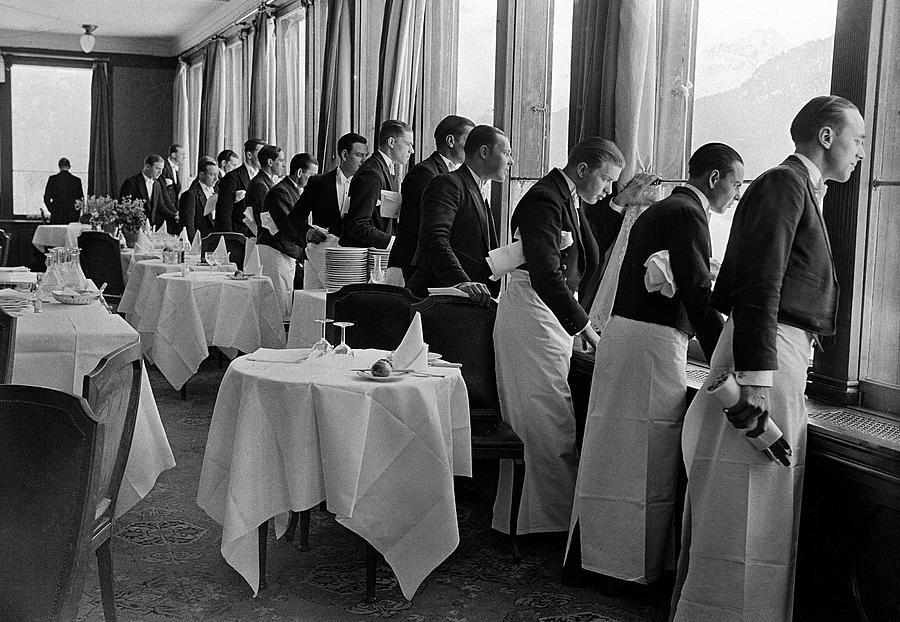 Waiters At The Grand Hotel Line Up At Photograph by Alfred Eisenstaedt