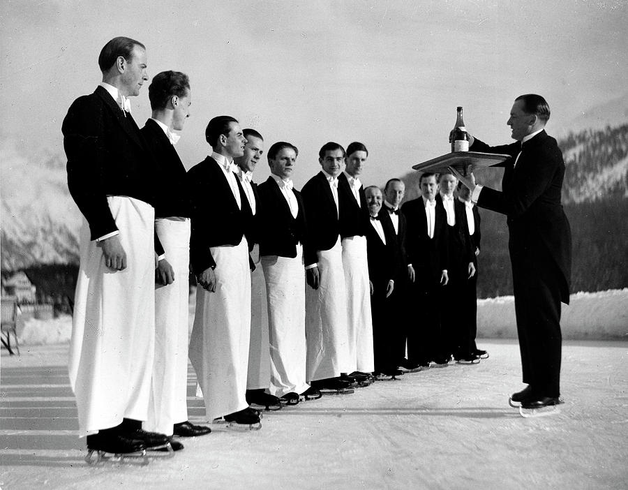 Waiters In Ice Skates Learning How To Se Photograph by Alfred Eisenstaedt