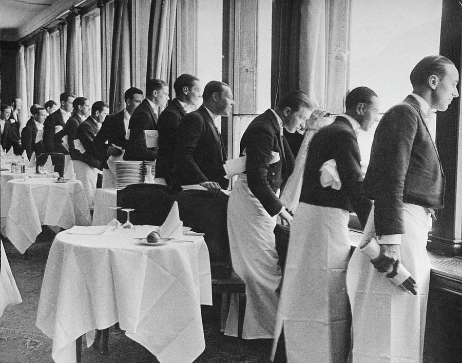 Waiters In The Grand Hotel Dining Room L Photograph by Alfred Eisenstaedt