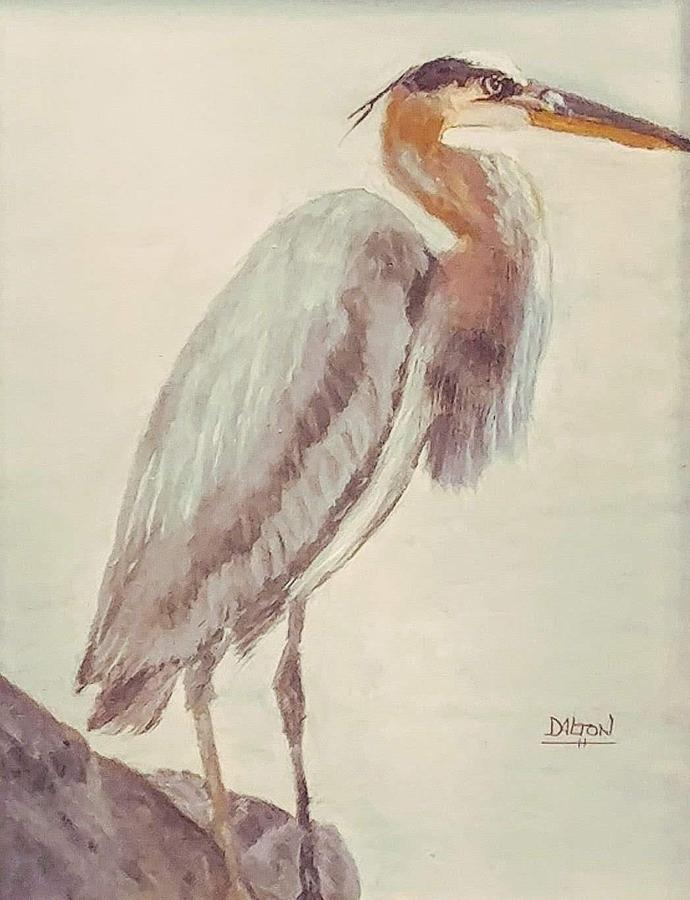 Blue Heron Painting - Waiting For Lunch by George Dalton