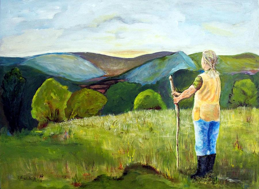 Landscape Painting - Waiting For Daybreak In The Alleghenies by Rosita Pisarchick