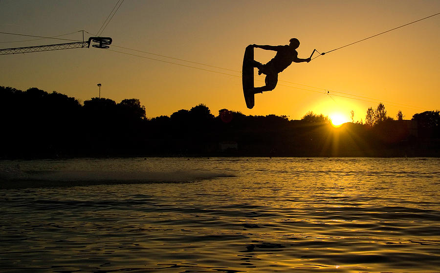 Wakeboarder At Sunset Photograph by Andreas Mohaupt