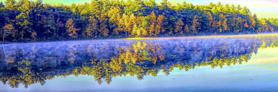 Walden Pond Panorama Autumn Time Concord Massachusetts  by OLena Art - Lena Owens