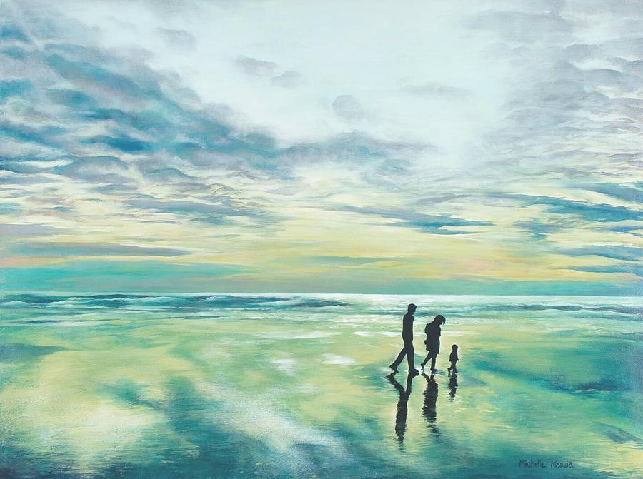 Landscape Painting - Walk At Sunset by Michelle Marsia