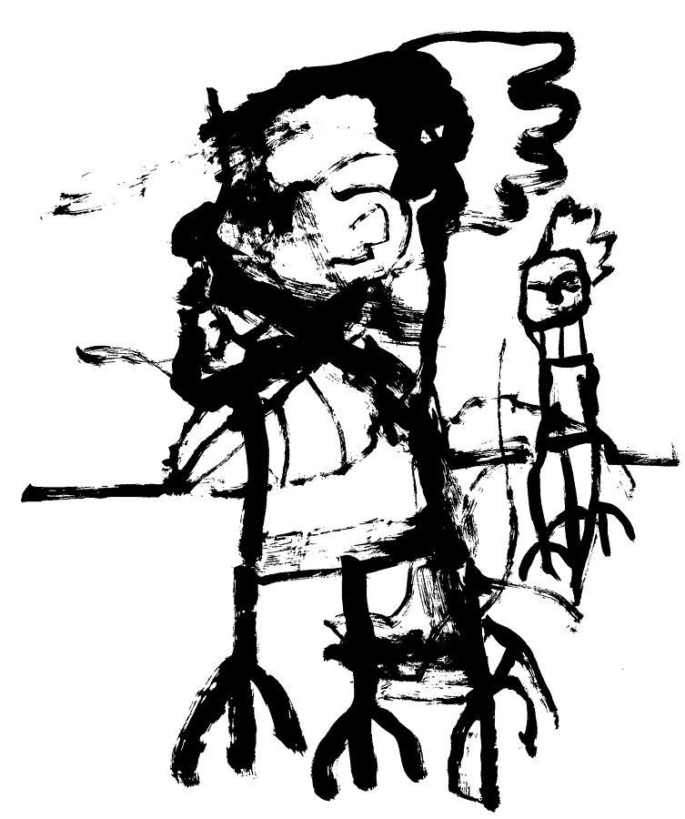 Walking cockerel men by Artist Dot