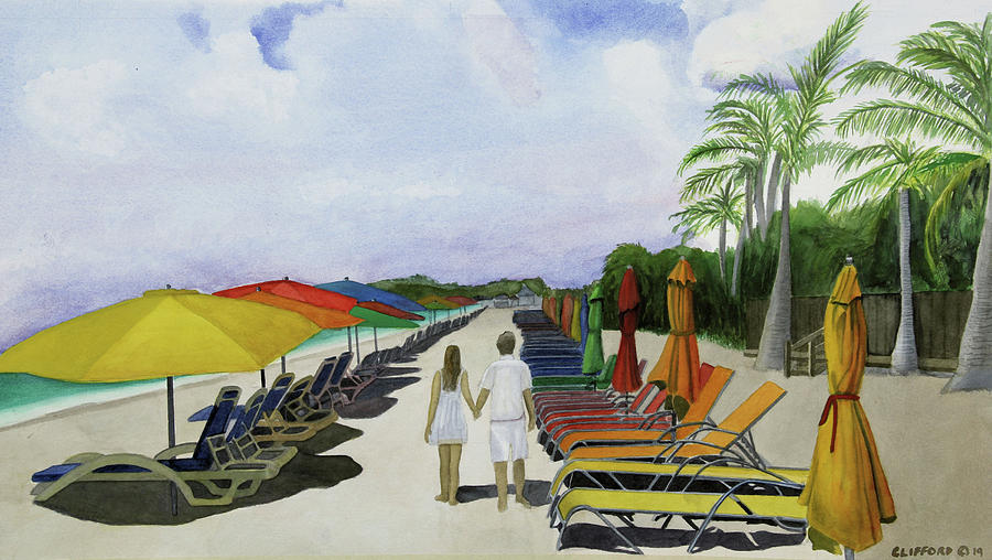 Beach Painting - Walking Down the Aisle in paradise by Cory Clifford