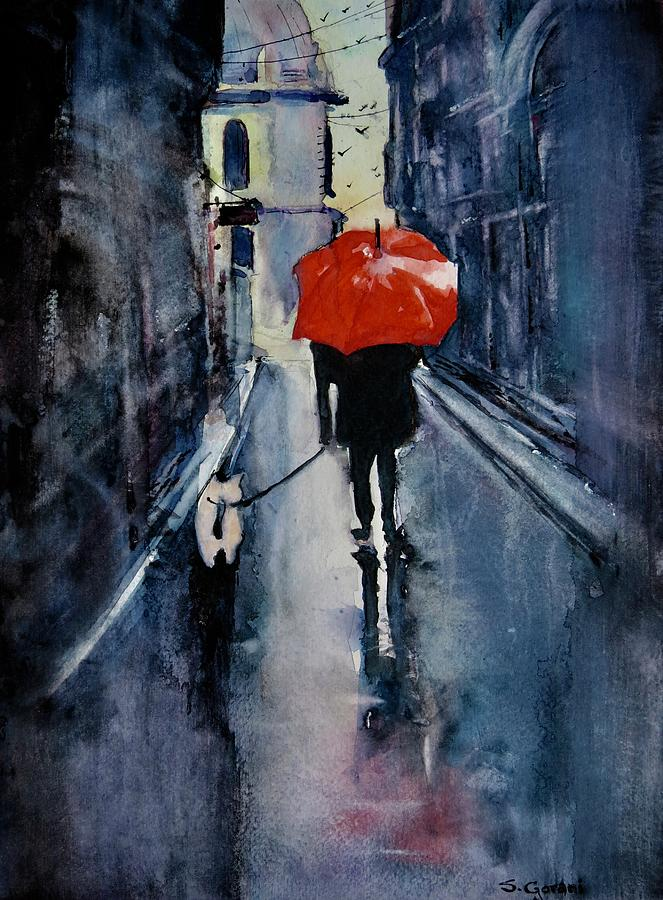 Walking In The Rain Painting - Walking In The Rain by Geni Gorani